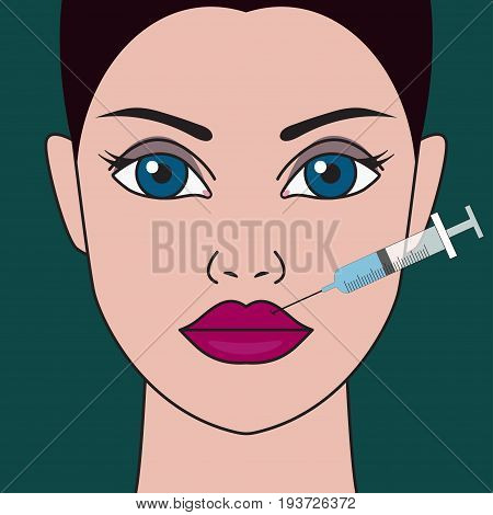 Cosmetic injection of hyaluronic acid syringe in lips. Female face with full lips. Portrait of beauty. Beautiful women. Vector graphic design