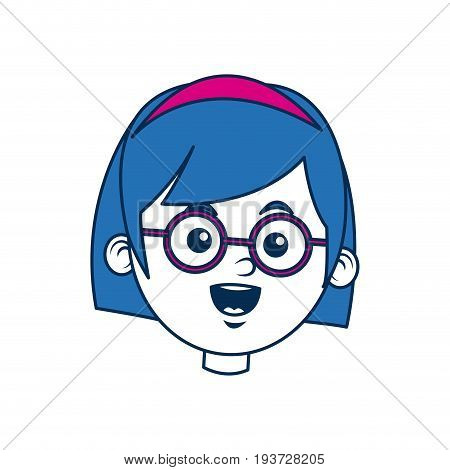 beauty girl face avatar wear glasses and blue hair vector illustration