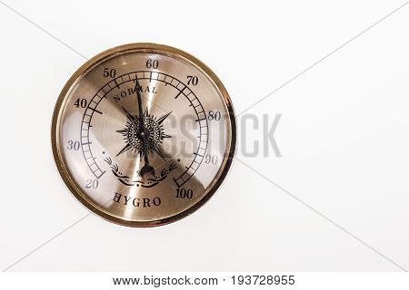 Vintage hygrometer normal isolated on white background