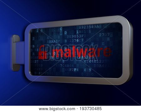 Protection concept: Malware and Opened Padlock on advertising billboard background, 3D rendering