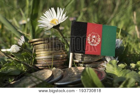 Afghanistan Flag With Stack Of Money Coins With Grass And Flowers