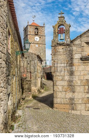 Clock tower Lucano in the streets of Monsanto village in Portugal