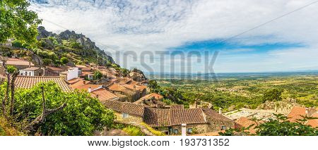 Panoramic view at the roofs of houses in Monsanto village - Portugal