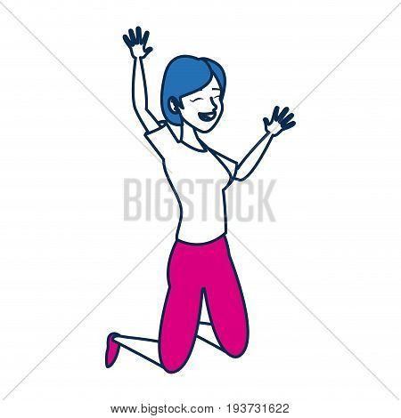 tourist girl character traveler people in blue and fuchsia vector illustration