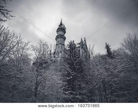 Black and white winter view of Neuschwanstein castle
