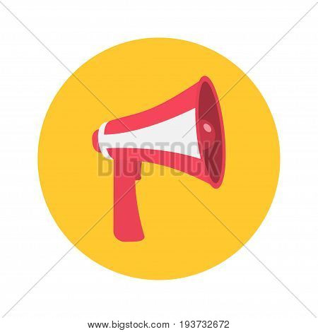 Megaphone speaker loudspeaker round icon. Announcement sign symbol. Flat design. Red yellow color. White background Isolated. Vector illustration