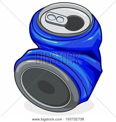 Vector illustration of a crushed tin can