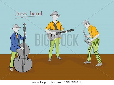 Jazz band with different musical instruments. Hand drawn cartoon vector illustration for design and infographics.
