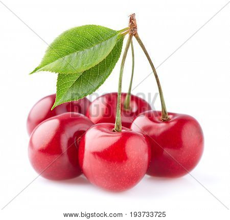 Cherries with leaves