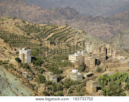 View to Manakha fortress and old city and terrace farming in Yemen