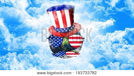 Planet Earth With Uncle Sam's Hat, Sunglasses And Mustaches. United States Of America Flag. Independ