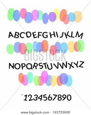 Latin balloons alphabet font. Latin characters and numbers tied to the colorful balloons