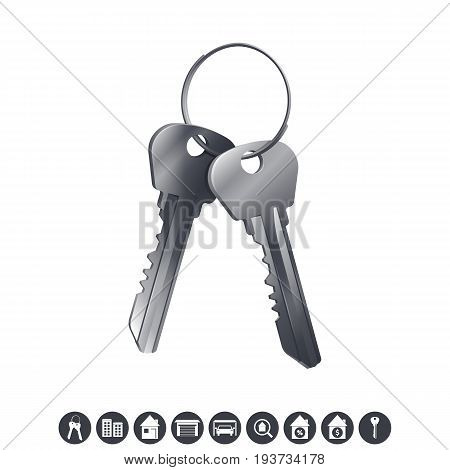 Bunch of silver house keys. Real estate icons isolated on white background. Vector illustration.