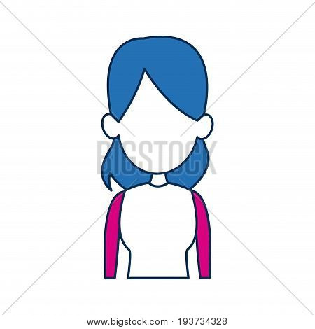 woman avatar female blue hair fuchsia clothes in white background vector illustration