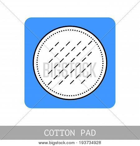 Cotton pad. Flat icon of hygiene and beauty products. Object for design