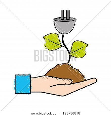 hand with power cable plant with leaves and ground vector illuctration