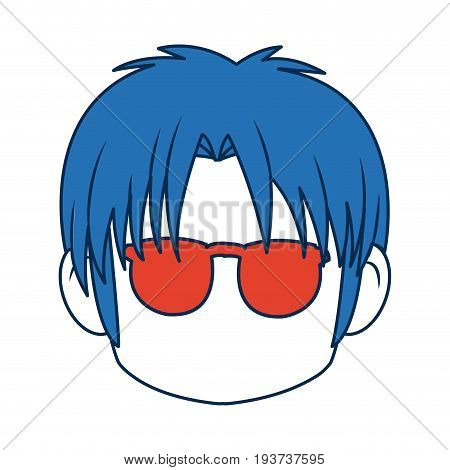 anime boy with blue hair and glasses vector illustration