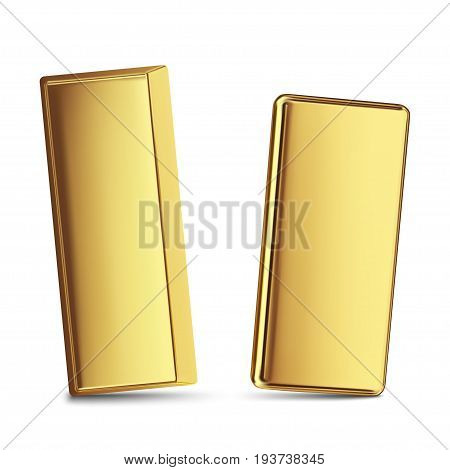 two gold bars isolated on white background