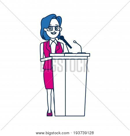 politician woman standing behind rostrum and giving a speech vector illustration