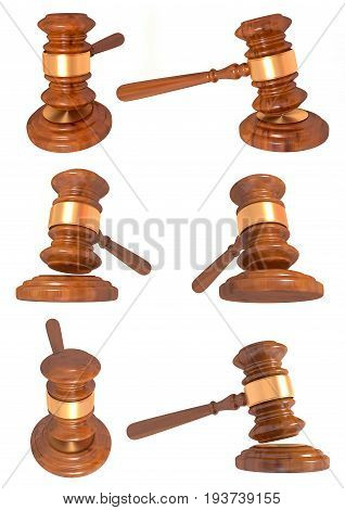 3D illustration of a Judge gavel series on white background