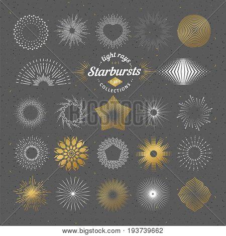 Set Of Vector Starbursts. Vintage Design Elements
