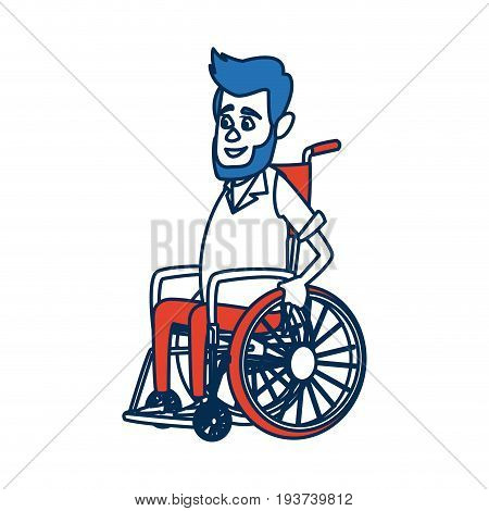 disabled man isolated on white background. a man in a wheelchair. vector illustration. sad disabled man.