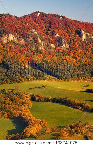 The Sulov Rocks Mountain In Fall Colors, Slovakia, Europe