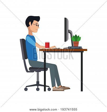man working sitting in desk computer work space vector illustration
