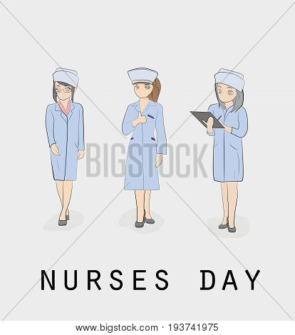 Nurses. Nursing day. Hand drawn cartoon vector illustration for design and infographics.