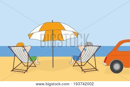 A man is sunning on the beach in a deckchair. Concept of vacation. Hand drawn cartoon vector illustration for design and infographics.
