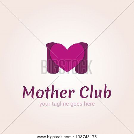 Vector logo template for mother club care during pregnancy protection pregnancy support. The letter M and the heart.
