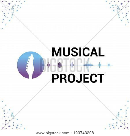 Vector logo template for musical project. Music icon.Image of fretboard guitar.