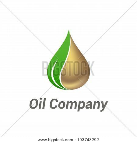 Vector logo template for oil company. Industrial design. Illustration of gold oil drop with leaf.