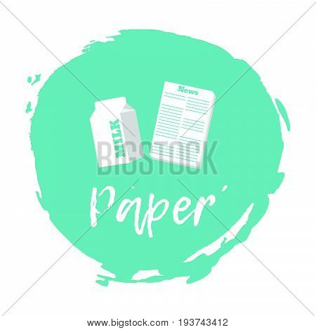 Recycling Waste Sorting Icon - Paper. Vector Illustration