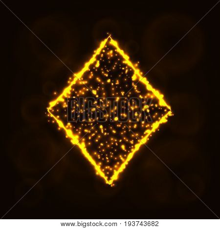 Card suits illustration icon, Lights Silhouette on Dark Background. Glowing Lines and Points. Card suits vector illustration. Diamonds sign.