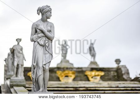 Peterhof Russia October 5 2016: Sculpture in park of Peterhof Palace in Russia.