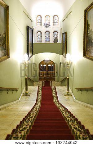 Moscow Russia September 30 2016: Tretyakov gallery museum interior.