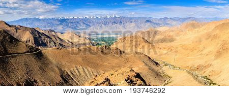 Panoramic view of Himalayan mountains in Ladakh district of Kashmir, India