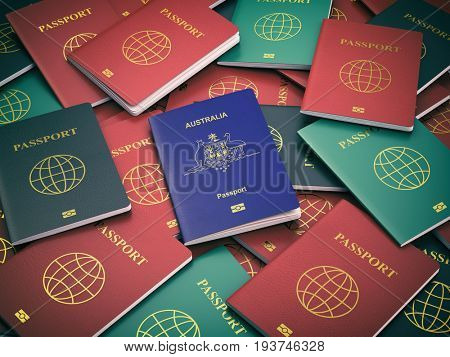 Passport of Australia on the pile of different passports. Immigration concept. Australian passport. 3d illustration