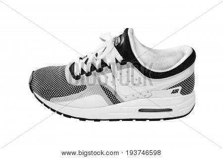 SOFIA, BULGARIA - JULY 1, 2017: Nike Air MAX Zero Essential shoes - sneakers - trainers in black and white isolated on white with clipping path. Nike is a global sports clothes and running shoes retailer.