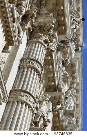 Classical and baroque architecture from Saint Moses Church in Venice completed in 1668