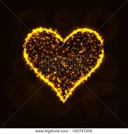 Card suits illustration icon, Lights Silhouette on Dark Background. Glowing Lines and Points. Card suits vector illustration. Hearts sign.