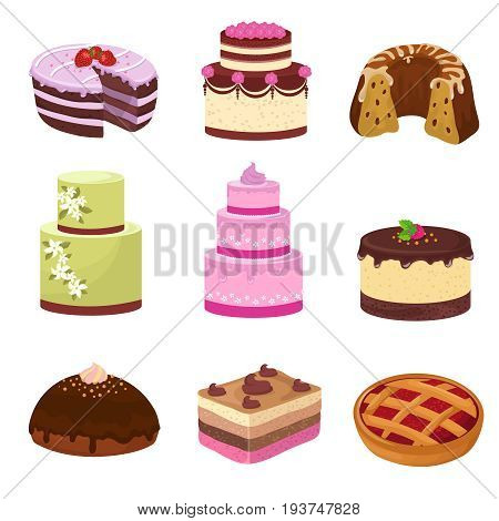 Happy birthday party cakes with decorations isolated on white. Cartoon sweet desserts vector set. Cake to birthday party and celebration, cartoon decoration sweet cake illustration