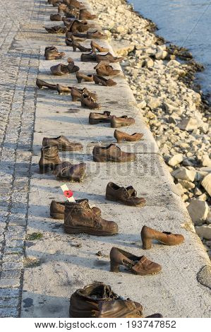 Monument iron shoes in memory of the executed Jews in Budapest