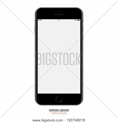 smartphone black color with blank screen isolated on white background. stock vector illustration eps10