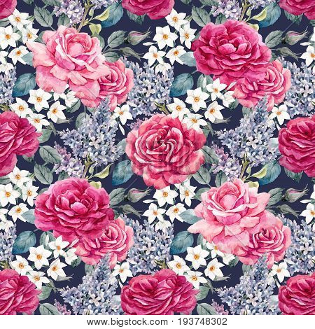Beautiful vector seamless pattern with hand drawn watercolor roses and other flowers