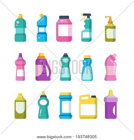 Cleaning household products. Chemical cleaners bottles. Sanitary containers vector set. Chemical sanitary container plastic for disinfectant bathroom illustration poster