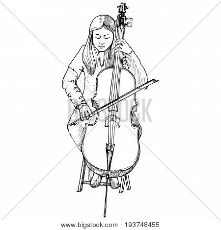 Sketch of young girl playing the cello, cellist