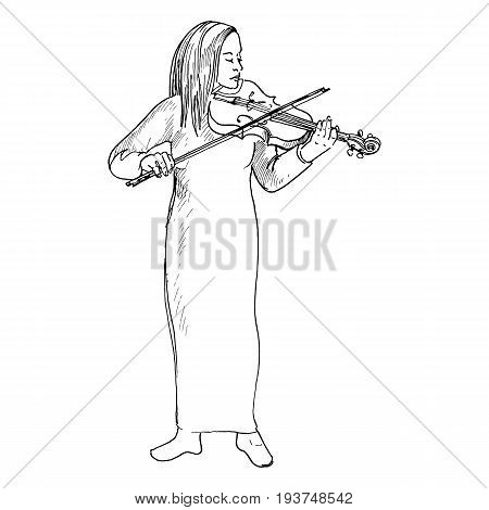 Sketch of young girl playing the violin, Violinist, hand drawn vector illustration