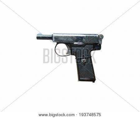 Wroclaw, Poland - July 4, 2017: Close Up On Webley And Scoot Handgun Isolated On White